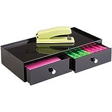 mDesign Organizador de escritorio con 2 cajones - Cajonera doble para oficina - Con sistema modular apilable