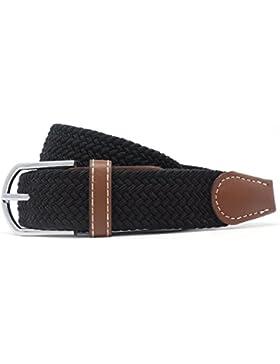 Elastica Cintura uomo cinghia intrecciata pelle flessibile quotidiano Cintura fibbia in metallo di Jeracol
