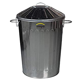 60L Galvanised Steel Bin Metal Rubbish Indoor/Outdoor Home Heavy Duty