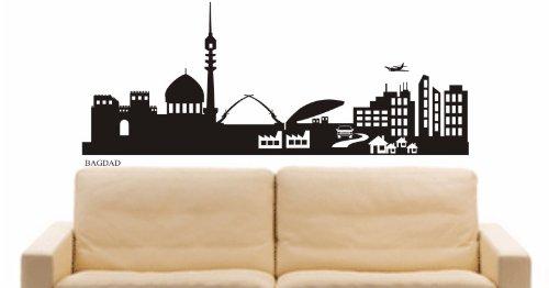 INDIGOS UG - WANDTATTOO / Wandsticker / Wandaufkleber / Aufkleber e519 Skyline Stadt - Bagdad (Irak) Design 2 - 96x40 cm - schwarz (Blumen Aus Dem Irak)