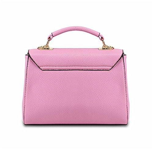 Xinmaoyuan Borse donna borse di bloccaggio spalla borsa Messenger quadrato piccolo sacchetto,Nero Rosa