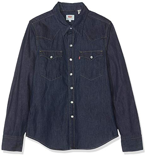 Levi's barstow western camicia in jeans, blu (red cast rinse 0115), xx-small uomo