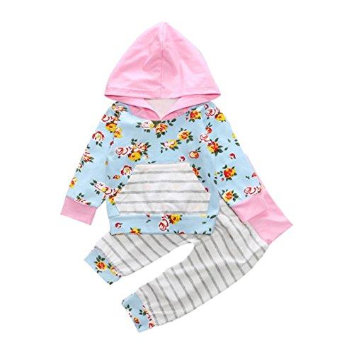 Culater® I bambini della ragazza del neonato floreale con cappuccio Tops Felpa Pantaloni Outfits vestiti insieme casuale (12M)