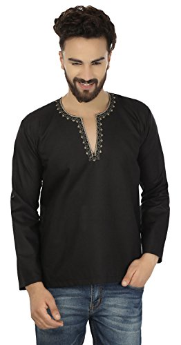 indische-kleidung-mode-shirt-manner-stickte-kurz-kurta-cotton-schwarz-xl