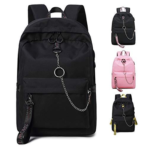 FEDUAN Campus Rucksack Schultasche Schulrucksack Studententasche Laptop-Rucksäcke mit USB/Kopfhörer Anschluss Tagesrucksack modisch Reiserucksack Mädchen Jungen Teenager groß 18L M2 schwarz