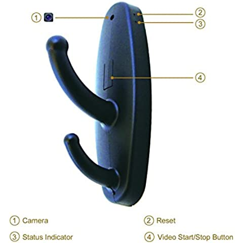 Qijitech Grabadora Gancho Oculto Videocámara movimiento mini cámara espía gancho para seguridad ourdoor y