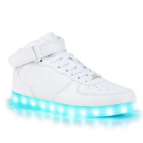 Sofort lieferbar aus DE - Leuchtende und Blinkende Damen Herren Kinder Mädchen Jungen Sneakers High und Low Led Light Farbwechsel Schuhe LED Licht Weiss High