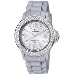 Laurens Damen GW70J906Y Swarovski Crystal Bezel Silver Dial Rubber Uhr