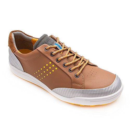 Zerimar Qualität Leder Golfschuhe Sport und Komfortabel Casual Running Farbe Tan Größe 42 (Schuhe Damen Golf Tan)