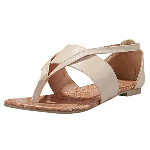 OrchidAmor Sommer Damen Clip-Toe Flache Sandalen Mode Römische Sandalen Casual Damen Schuhe 2019, Beige (beige), 43 EU Bandolino Heels