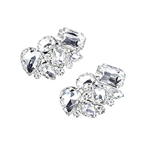 BESTOYARD Schuhclips Damen Kristall Strass Wassertropfen Rund Viereckig Form Schuhschnalle Schmuck Accessoires für Frauen Schuhe 1 Paar (Silber)