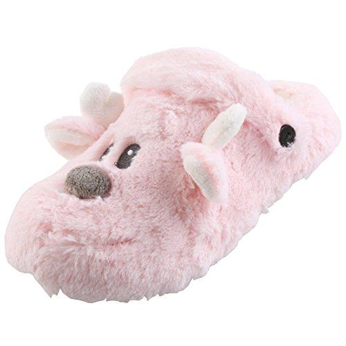 Tierhausschuhe Damen Kinder Plüsch Hausschuhe Teddy Bär Clogs Pantoffel Slipper Schlappen weich lila rosa 35-40, TH-CB Rosa