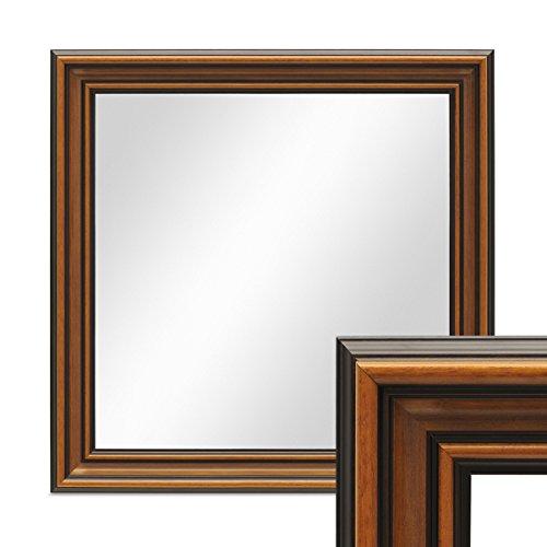 PHOTOLINI Wand-Spiegel 60x60 cm im Holzrahmen Antik Breit Dunkelbraun Quadratisch/Spiegelfläche...