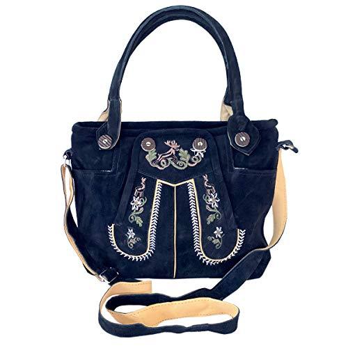 Lederhosen-Tasche Trachtentasche Dirndltasche Wildleder dunkelblau mit Farbiger Trachten-Stickerei