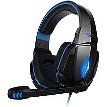 EasySMX Kotion EACH G4000 Auricular Estéreo de Juegos Auricular Inteligente Estéreo Moderno para Juegos con Diadema Micrófono Control del Volumen Luz de LED para PC Jugadores (Azul)