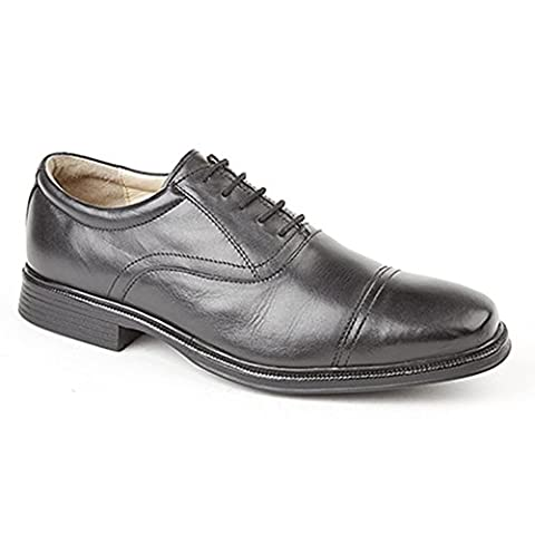 Roamers Mens 5 Eye Capped Oxford Softie Leather Shoes (12 UK) (Black)