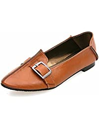 Zapatos de mujer de gran tamaño, plana niña hebilla de correa plana, con estudiantes, casual, zapatos de mujer,brown,40