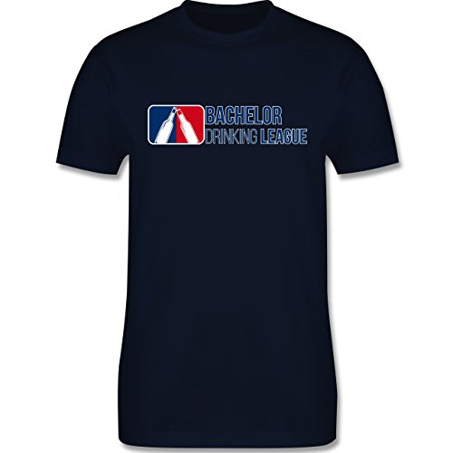Shirtracer JGA Junggesellenabschied - Bachelor Drinking League - Herren T-Shirt Rundhals Navy Blau