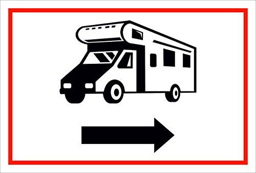 Schild – Wohnmobil Pfeil nach rechts– 15x20cm, 30x20cm und 45x30cm – Bohrlöcher Aufkleber Hartschaum Aluverbund -S00205B