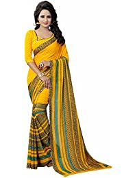 Ishin Faux Georgette Yellow Printed Party Wear Wedding Wear Casual Wear Festive Wear Bollywood New Collection...