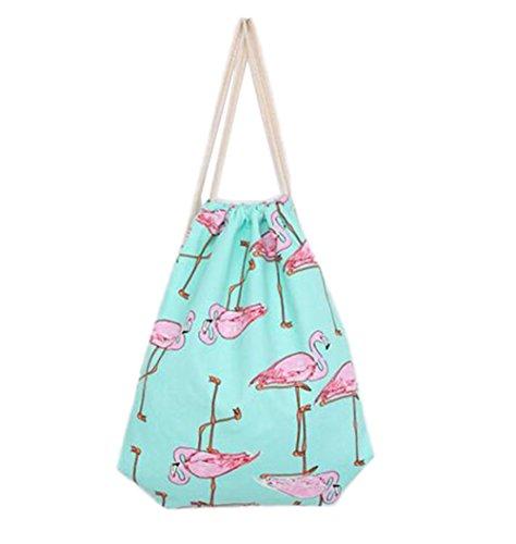Cdet Kordelzug Tasche Muster Schulter/Schultern / Tunnelzug / Leinwand / Baumwolltaschen Kosmetiktasche Aufbewahrungspaket Schulranzen Trümmerbeutel Geschenkpackung Außenpaket Sporttasche (Flamingo)