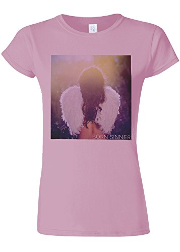 Born Sinner Sexy Angel Girl Wings Novelty Light Pink Women Damen Top T-shirt Verschiedene Farben-XXL (T-shirt Top Pink Wings)