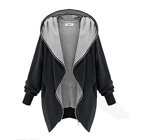 YWLINK Baumwolle Damen Oversize Hip Hop Zipper Hoodie Kapuzen Jacke Frauen Parka Trenchcoat Windjacke Outwear(XL,Schwarz)