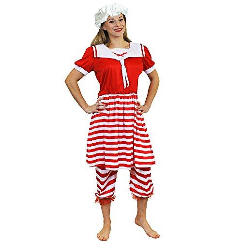 ILOVEFANCYDRESS Retro Badeanzug KOSTÜM VERKLEIDUNG VIKTORIANISCHEN =ROT/WEIß GESTREIFTES BADEKOSTÜM 20iger 30iger Jahre=2 TEILIGE=Fasching Vergangenheit=Large (Kostüm 1920 Badeanzug)