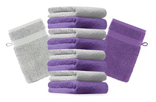 Betz lot de 10 gants de toilette taille 16x21 cm 100% coton Premium couleur violet, gris argenté