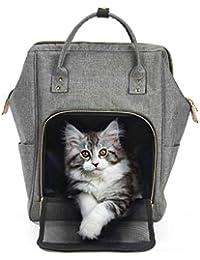 c145d480d Petcomer Mochila Portátil para Gato Pequeños Cachorro de Perros Portador de  Gato para Caminar Viaje (43x30x20 cm,…