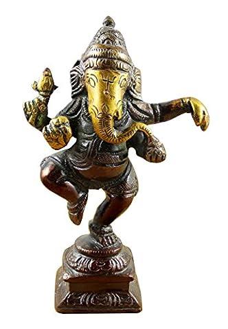 Indischen gott ganesha idol groß - braun bemalt handgemachte messingskulptur - 11,4 x 7,1 x 3 cm