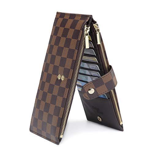 Daisy Rose Checkered Multi Card Wallet Clutch - Rfid Blocking Organisator Kartenhalter mit Reißverschluss-Taschen -Pu Vegan Leder Klein Braun