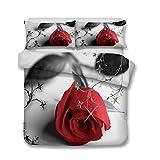 Andrui Parure de lit avec Housse de Couette et taie d'oreiller Rose Fleur Romance Impression Literie pour Les Enfants Filles Femmes (Gris, 220x240cm)