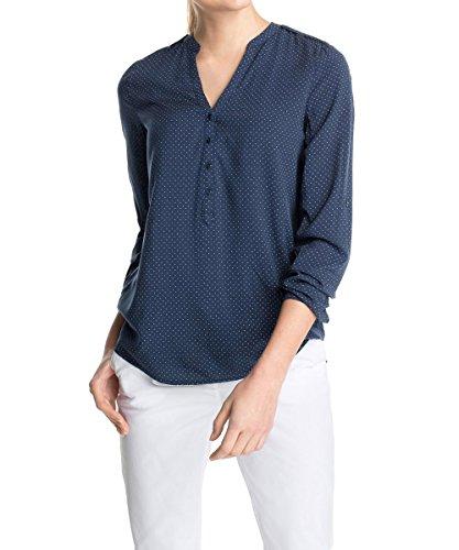 ESPRIT Damen Regular Fit Bluse 995EE1F901, Gr. 34, Blau (CINDER BLUE 406) (Seidige Langarm-bluse)