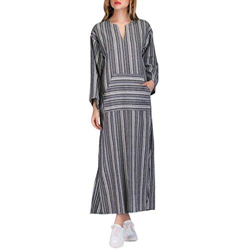 Women's Vintage Loose Robe Dresses - Saihui Striped Long Sleeve Casual Kaftan Boho Maxi Cotton Dress Plus Size with Front Pocket