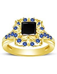 Atjewels Princess & Round Cut Black Cubic Zirconia & Blue Sapphire 14k Yellow Gold Over .925 Sterling Silver Engagement...