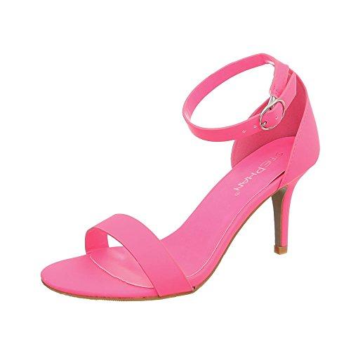 Ital-Design High Heel Sandaletten Damen-Schuhe Pfennig-/Stilettoabsatz Heels Schnalle Sandalen Pink, Gr 38, Ab-91-
