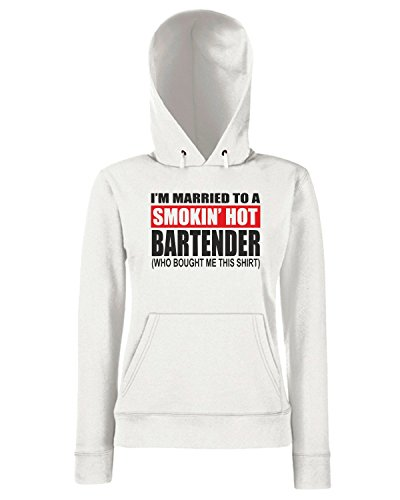 T-Shirtshock - Sweats a capuche Femme BEER0242 I m Married To A Smokin Hot Bartender Blanc