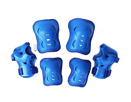 Set von 6 Kleinkinder Kinder Sport Knie Ellenbogen Handgelenke Durable Schutz Gear Safeguard Sicherheit Pads Geräten Unisex für Kinder Skateboard Skating Ice Skate Roller Extreme Sports (Blau)