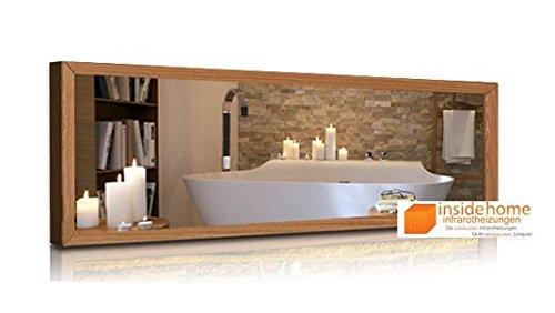 Infrarotheizung Spiegel mit Holz Rahmen in Eiche - Spiegelheizung mit Rahmen, 530 Watt - 130 x 40 x 3 cm