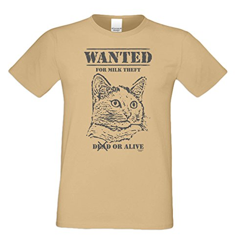 Herren Katzen-T-Shirt für Tier-Freunde als tolle Geschenk-Idee bis Größe 5XL / Print-Katzenmotiv: Wanted Farbe: sand Sand