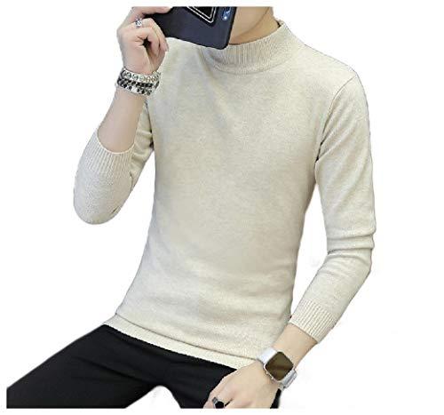 3/4 Sleeve Wool Pullover (CuteRose Mens Essential Basic Designed Fall Winter Knitwear Warm Sweatshirt Beige M)