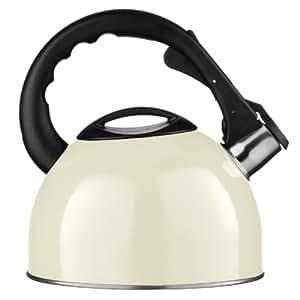 Premier Housewares 0505120 Bouilloire à Sifflet en Acier Inoxydable Crème 2,5 L