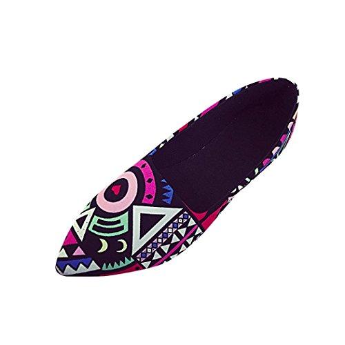 Bedrucktes Flache Spitze Schuhe Damen, DoraMe Frauen Casual Multicolor Loafers Schuhe Alle Jahreszeiten PU Ballett Slip On Elegante Einzelne Schuhe (EU:34/CN:35, Multicolor) (Flach Ballett Spitzen)