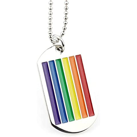 Daesar Joyería Collar Colgante, Acero Inoxidable Collar Ajustado Silver for Men Women Gay Lesbian Lgbt Square Dog Tag, Grabado por Gratis
