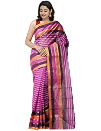 Unnati Silks Women's Bengal Handloom Cotton Tant Saree (UNM31876+Multicolor+Free Size)