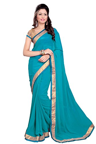 SOURBH Georgette Saree (171_Turquoise) Faux Georgette Saree