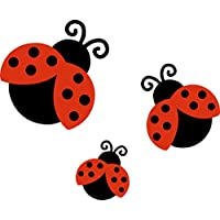 3 x Ladybird Car,Van,Wheelie Bin Camper Wall Nursery Stickers Decals LS2001
