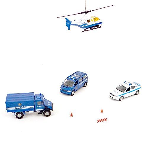 Coffret 4 Véhicules de Secours - Assortiment de 4 véhicules de secours composé d'une voiture, de deux camions et d'un hélicoptère