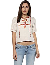 Fusion Beats Women Blended Viscose Front Neck Print Crop Top Ivory